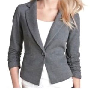Gibson Gray Blazer with Ruched Sleeves